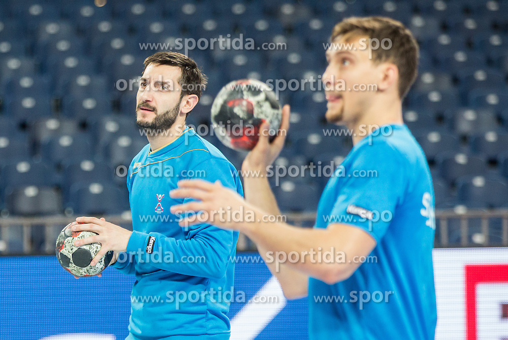 Dragan Gajic of Slovenia and Darko Cingesar of Slovenia during practice session of Team Slovenia on Day 1 of Men's EHF EURO 2016, on January 15, 2016 in Centennial Hall, Wroclaw, Poland. Photo by Vid Ponikvar / Sportida