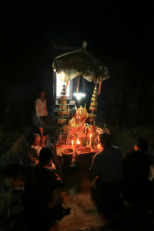 Buddhist pray in ancient temple.