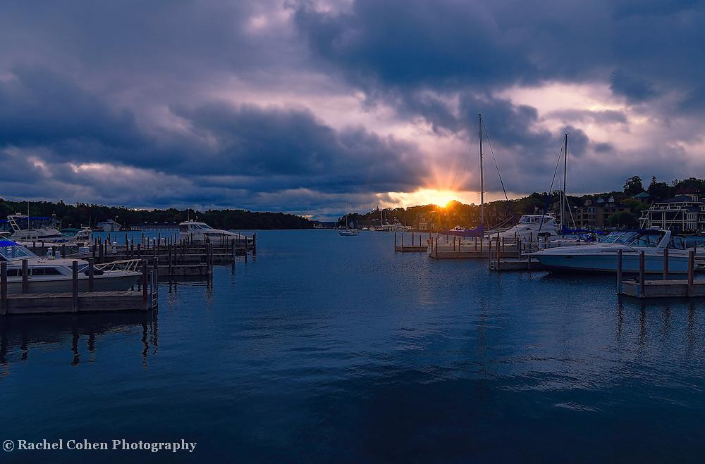 &quot;Sunrise over Charlevoix&quot;<br /> <br /> Beautiful sunrise over the Charlevoix City Marina, in Charlevoix Michigan.