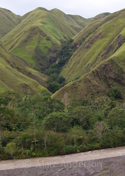 Erap river valley and forested hills in Lae province, Papua New Guinea