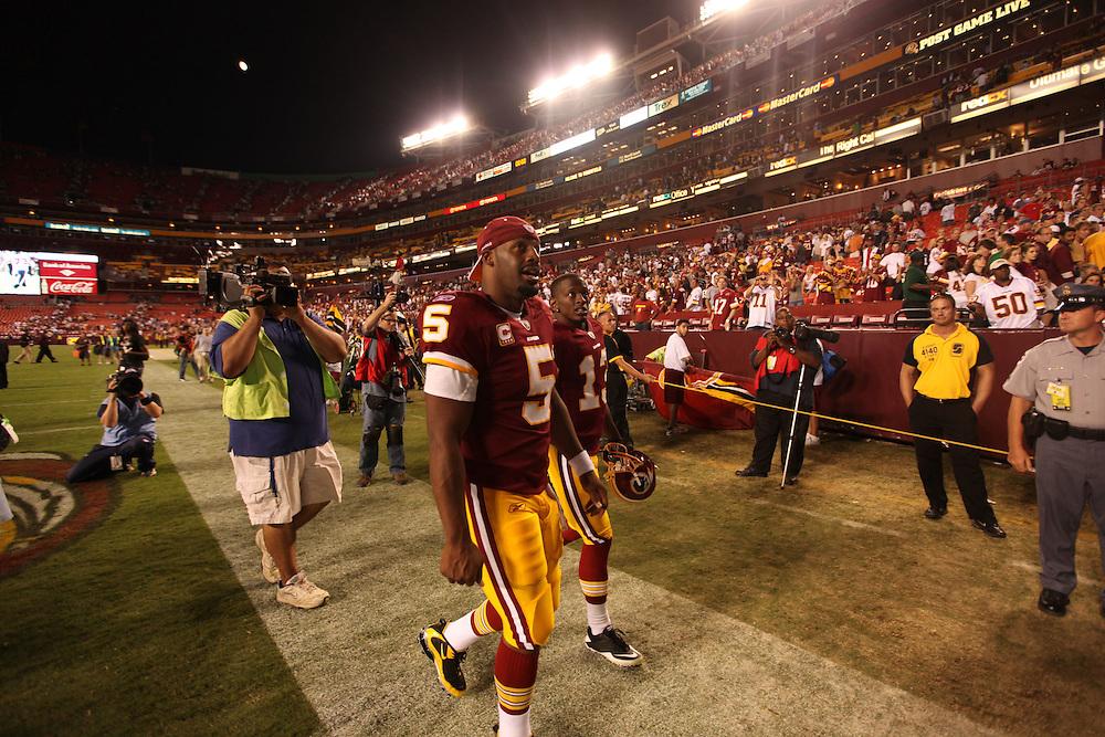 Landover, Md., Sept. 19, 2010 - Washington Redskins vs. Houston Texans - Redskins QB Donovan McNabb walks off the field after the game.