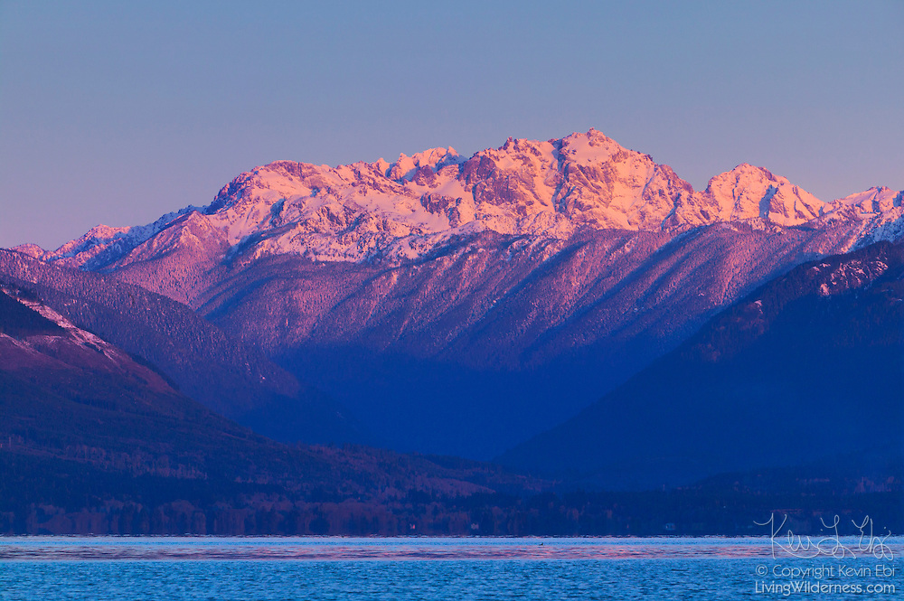 Mount Constance, at 7,743 feet, is one of the tallest peaks in the Olympic Mountains. In fact, it's only a little over 200 feet shorter than the tallest peak. Mount Constance towers over Hood Canal in this view from near Seabeck, Washington.
