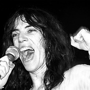 Patti Smith sings onstage at the Palladium theater in New York City in May, 1978.