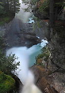 The final section of the Rutor's waterfalls, a powerful glacial stream originating from the Rutor glacier in Aosta Valley, Italy.