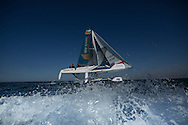 The Extreme Sailing Series 2014. Act 2. Muscat. <br /> Oman Air skippered Rob Greenhalgh (GBR) with headsail trimer Will Howden (GBR), trimer Tom Johnson (AUS), bowman Hashim Al Rashdi (OMA) and bowman Musab Al Hadi (OMA)<br /> Credit - Lloyd Images