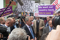 "Smith Square, Westminster, London, June 16th 2016. UKIP leader Nigel Farage launches his ""biggest ever"" advertising campaign as Leave and Remain enter their last week of campaigning before the EU referendum on June 23rd. PICTURED: Farage speaks to the media as Remain campaigners get their posters in front of the cameras."