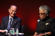 29 October 2010- Harlem, New York- l to r: Paul LeClerc, President, New York Public Library, and Dr. Maya Angelou at The Acquisition of the Maya Angelou Collection of Personal Papers and Materials Documenting 40 years of the Writer's Literary Career held at the Schomburg Center on October 29, 2010 in Harlem, USA. Photo Credit: Terrence Jennings