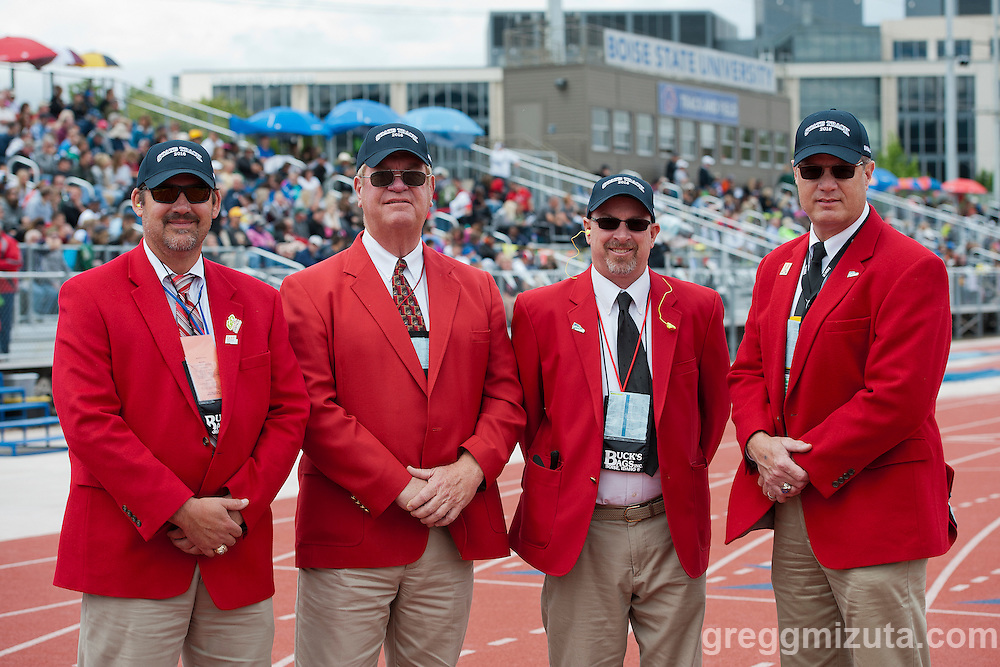 Meet officials and starters (L to R: Jeff Farley, Dave Mattson, Nick Ciaccio, Tim Wellinghouse) for the 5A/4A Idaho High School Track & Field State Championships at Dona Larson Park, Boise, Idaho, May 21, 2016.