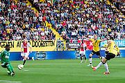 BREDA - NAC - Jong Ajax , Voetbal , Seizoen 2015/2016 , Jupiler league , Rat Verlegh Stadion , 21-08-2015 , NAC Breda speler Mats Seuntjens (r) scoort de 1-0 door de bal langs Jong Ajax keeper Andre Onana (l) te schieten , NAC Breda Sjoerd Ars (2e r) viert het doelpunt vast