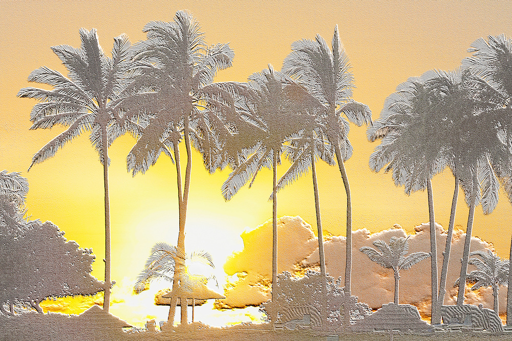 Palm trees silhouetted against the sunset sky at Ko Olina resort, Oahu, Hawaii