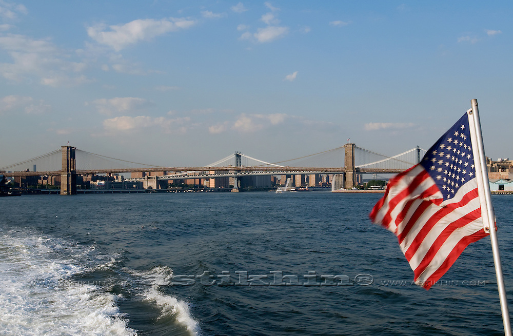 Flag of U.S.A. on East River