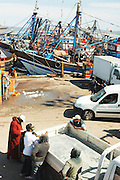 Activity as the the fishing boats arrive at the Essaouira harbor