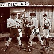 Vintage photo of men bare knuckle boxing, 1907 in North Carolina.