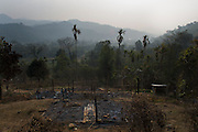 Once teaming with life, this hill in Borlangso village was home to hundreds of Rengma villagers; it now sits charred and silent.  The village of Borlangso was hard hit, aided by neighboring Karbi villagers the Karbi Peoples Liberation Tigers militant group burned a total of 38 of 57 homes. Image © Jonah Markowitz/Falcon Photo Agency