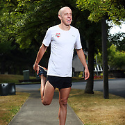 At age 31 Alan Webb, an elite distance runner and the holder of the American record in the mile, is attempting to transform into a triathlete. He trains by swimming, bicycling and running with his family in Beaverton, Ore.