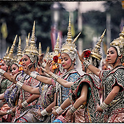 Dancers in classic dress gather to perform for Thailand's King Bhumibol Adulyadej on his birthday Dec. 5th, 2006, in Bangkok, Thailand.