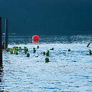 Men's Half Ironman Start.  Best in the West Triathlon.  Half Ironman Triathlon at Foster Lake on 10 September 2011, Sweet Home, Oregon.