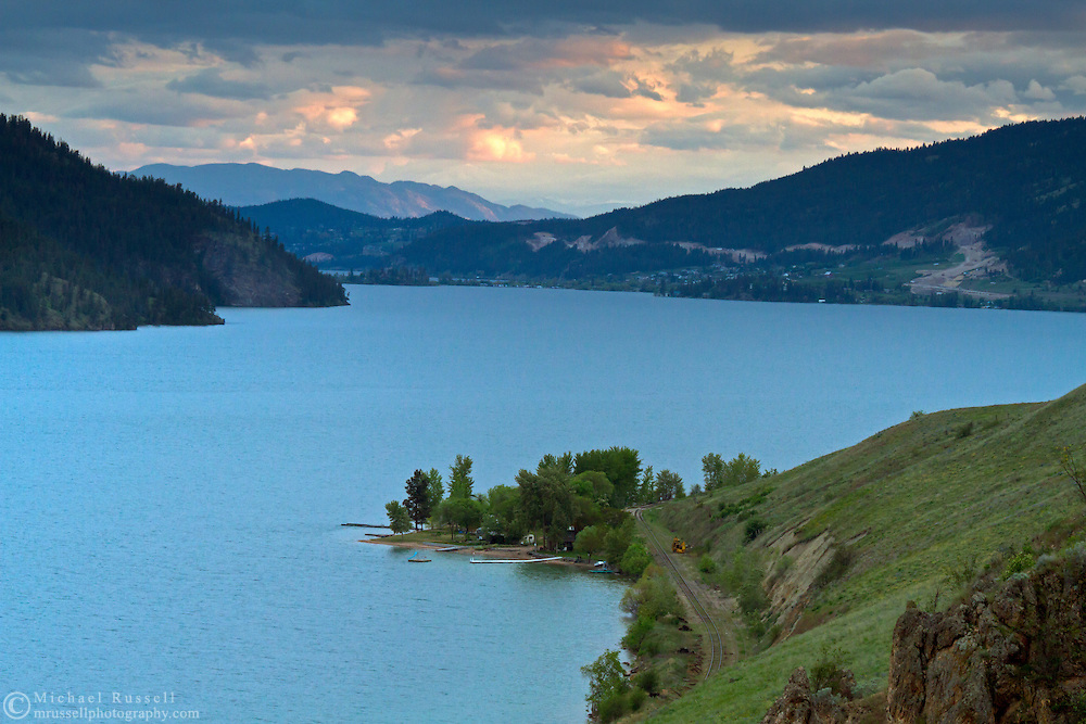 Sunset after a brief storm at Kalamalka Lake in Vernon, British Columbia, Canada