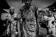 Women outside the Maroon market in central Paramaribo.  Suriname.