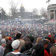 SHOT 4/20/11 4:21:37 PM - Marijuana enthusiasts light up in unison at 4:20pm at the 420 Rally in Denver, Co. They converged upon Denver, Colorado and Civic Center Park for an event that has come to symbolize Colorado's burgeoning claim as the nation's cannabis capital. Denver's annual April 20th pro-marijuana smoke-out -- known as the 420 Rally -- is reputedly the largest of its kind in the world on a day that has come to be regarded as a ganja holiday. The crowd was estimated at about 10,000 participants and the signature moment of the rally occurred at 4:20 p.m., when participants collectively lit up and a thick cloud of marijuana smoke rose over the park within site of the state capital. Organizers say the goal of the rally is to bring people together to protest peacefully marijuana prohibition. (Photo by Marc Piscotty / © 2011)