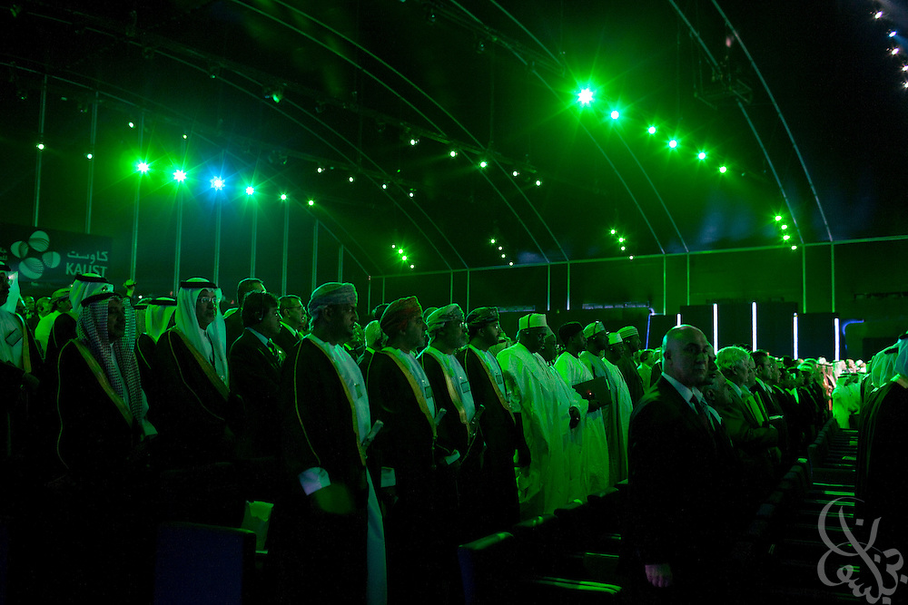 3,000 invited guests gather under the large ceremony hall tent for a multimedia extravaganza during the King Abdullah University of Science and Technology (KAUST) Inauguration Ceremony September 23, 2009 in Thuwal, Saudi Arabia (about 80 Kilometers north of Jeddah.) The University will act as a living laboratory by demonstrating that environmentally responsible methods of energy use, materials management, and water consumption are viable in the Middle East and across the globe. (Photo by Scott Nelson).