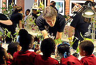 Sam talking with a Boston camp group at one of the summer 2010 live caterpillar shows. Boston Children's Museum.