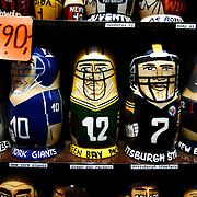 "SHOT 11/21/08 7:29:54 AM - Stackable dolls of various NFL and MLB teams for sale at a tourist shop in Prague. Trip to Prague, Czech Republic with Margaret. Prague is the capital and largest city of the Czech Republic. Its official name is Hlavní m?sto Praha, meaning Prague, the Capital City. Situated on the River Vltava in central Bohemia, Prague has been the political, cultural, and economic centre of the Czech state for over 1100 years. The city proper is home to more than 1.2 million people, while its metropolitan area is estimated to have a population of over 1.9 million. Since 1992, the extensive historic centre of Prague has been included in the UNESCO list of World Heritage Sites. According to Guinness World Records, Prague Castle is the largest ancient castle in the world. Nicknames for Prague have included ""the mother of cities"", ""city of a hundred spires"" and ""the golden city"". Since the fall of the Iron Curtain, Prague has become one of Europe's (and the world's) most popular tourist destinations. It is the sixth most-visited European city after London, Paris, Rome, Madrid and Berlin. Prague suffered considerably less damage during World War II than some other major cities in the region, allowing most of its historic architecture to stay true to form. It contains one of the world's most pristine and varied collections of architecture, from Art Nouveau to Baroque, Renaissance, Cubist, Gothic, Neo-Classical and ultra-modern..(Photo by Marc Piscotty / © 2008)"