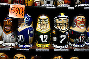 """SHOT 11/21/08 7:29:54 AM - Stackable dolls of various NFL and MLB teams for sale at a tourist shop in Prague. Trip to Prague, Czech Republic with Margaret. Prague is the capital and largest city of the Czech Republic. Its official name is Hlavní m?sto Praha, meaning Prague, the Capital City. Situated on the River Vltava in central Bohemia, Prague has been the political, cultural, and economic centre of the Czech state for over 1100 years. The city proper is home to more than 1.2 million people, while its metropolitan area is estimated to have a population of over 1.9 million. Since 1992, the extensive historic centre of Prague has been included in the UNESCO list of World Heritage Sites. According to Guinness World Records, Prague Castle is the largest ancient castle in the world. Nicknames for Prague have included """"the mother of cities"""", """"city of a hundred spires"""" and """"the golden city"""". Since the fall of the Iron Curtain, Prague has become one of Europe's (and the world's) most popular tourist destinations. It is the sixth most-visited European city after London, Paris, Rome, Madrid and Berlin. Prague suffered considerably less damage during World War II than some other major cities in the region, allowing most of its historic architecture to stay true to form. It contains one of the world's most pristine and varied collections of architecture, from Art Nouveau to Baroque, Renaissance, Cubist, Gothic, Neo-Classical and ultra-modern..(Photo by Marc Piscotty / © 2008)"""