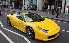 AUG 08 2014 Luxury cars flooding Knightsbridge area in London