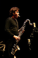 """French clarinet player Louis Sclavis during a Romano/Sclavis/Texier Trio performance. """"Jazz ao Centro"""" jazz festival is held twice a year in portuguese town of Coimbra."""