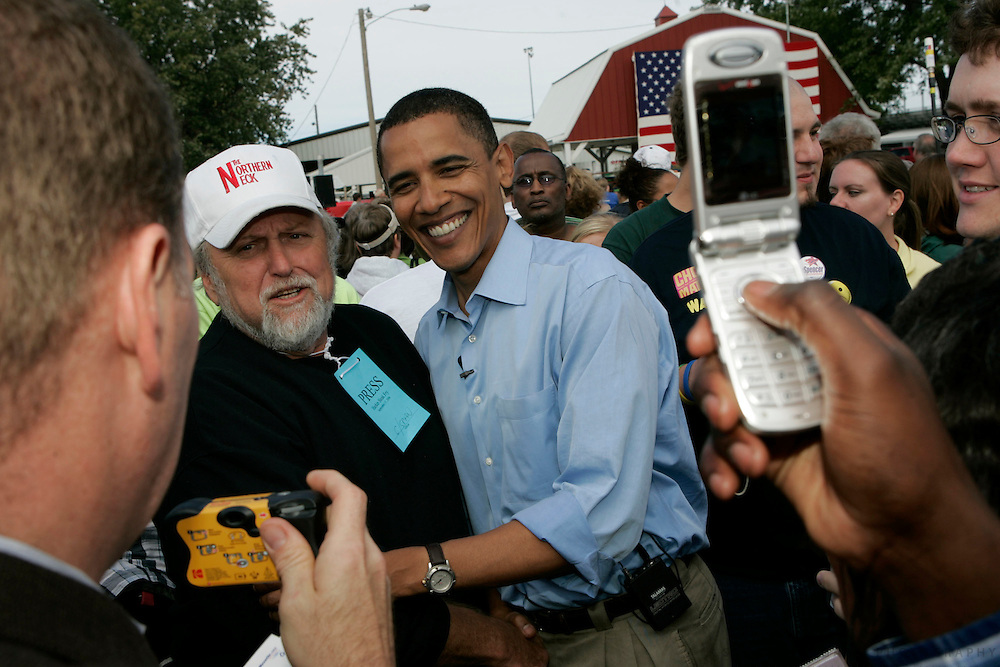 INDIANOLA, IA - SEPTEMBER 17: U.S. Sen. Barack Obama (D-IL) meets local democrats Sunday Sept. 17, 2006 during the 29th Harkin Steak Fry at the Warren County Fairgrounds in Indianola, Iowa. (Photo by Scott Morgan/Getty Images)