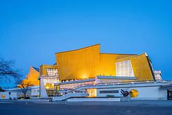 Night view of Berlin Philharmonie concert halls, home of Berlin Philharmonic orchestra in Berlin, Germany