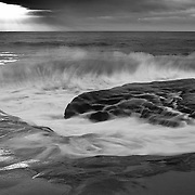 Crashing Wave At High Tide - La Jolla Shoreline - Sunset - Black & White