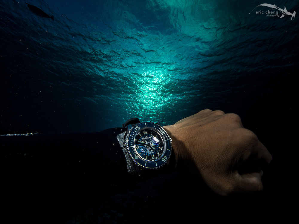 Blancpain's Fifty Fathoms dive watch, underwater in Fakarava's south pass (Tomakohua), French Polynesia.