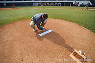 Wettlin Treppendahl of the grounds crew works on the field at Oxford-University Stadium in Oxford, Miss. on Tuesday, February 23, 2010.