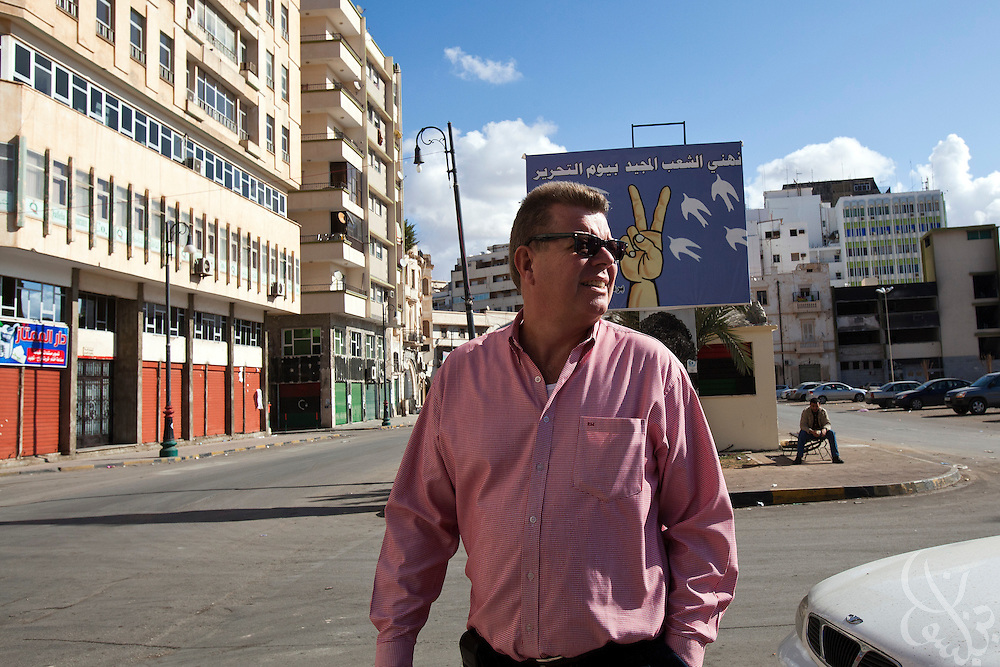 Dr. Ronald Meinardus, Regional Director of the Friedrich Naumann Foundation for Liberty (FNF) walks the streets in Benghazi, Libya December 16, 2011.  (Photo by Scott Nelson, for Der Spiegel)