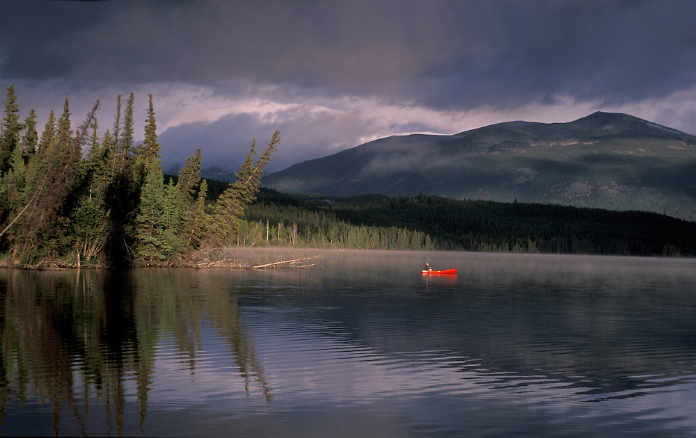 Canoe on Clearwater Lake, Kleena Kleene, Chilcotin Country,British Columbia,Canada
