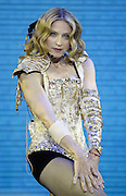 """INGLEWOOD, CA - MAY 26: Singer/actress Madonna performs onstage during the opening night of her """"Re-Invention"""" World Tour 2004, at The Great Western Forum, May 26, 2004 in Inglewood, California. The outfit she is wearing is designed by Christian LaCroix. (Photo by Frank Micelotta/Getty Images)  *** Local Caption *** Madonna"""