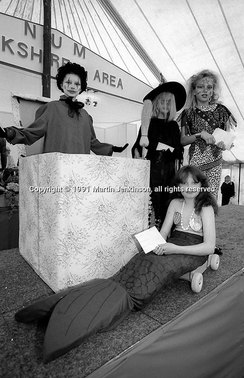 Fancy Dress 8-14 L to R: 1st Michelle Westerman, Armthorpe; 2nd (at front) Vicki Westerman, Armthorpe; 3rd Kirsty Sanders, Barnsley Main; 4th Kealy Jinks, Bentley. 1991 Yorkshire Miners Gala. Doncaster.