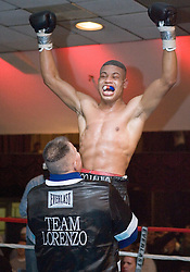 March 10, 2006 - North Bergen, NJ - Giovanni Lorenzo celebrates after his 8 round junior middleweight bout against Archak Ter-Meliksetian.  Lorenzo won the bout when Ter-Meliksetian could not come out for the 8th round.
