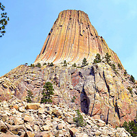 Devils Tower, Base Rocks and Pine at Devils Tower National Monument, Wyoming<br /> Devils Tower soars like a geological skyscraper over the eastern plains of Wyoming. Possibly born from magnum, the landmark was shaped by erosion during millions of years. The result is this majestic monolith rising 1,267 feet. Along its sides are hundreds of parallel cracks. At the base are piles of boulders and stone as if the master sculpture did not clean up after creating this masterpiece. The trees are Ponderosa pines.