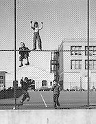 Four boys playing on a school yard fence, San Francisco