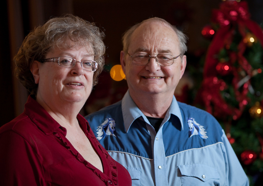 Jim and Linda Finkbeiner pose for their in their Exeter, Ontario home, Tuesday, December 13, 2011. Jim suffers from early-stage Alzheimer's and he and Linda, his primary caregiver, do what they can to minimize the additional stresses on Jim's condition that the holiday season can create. THE CANADIAN PRESS/ Geoff Robins