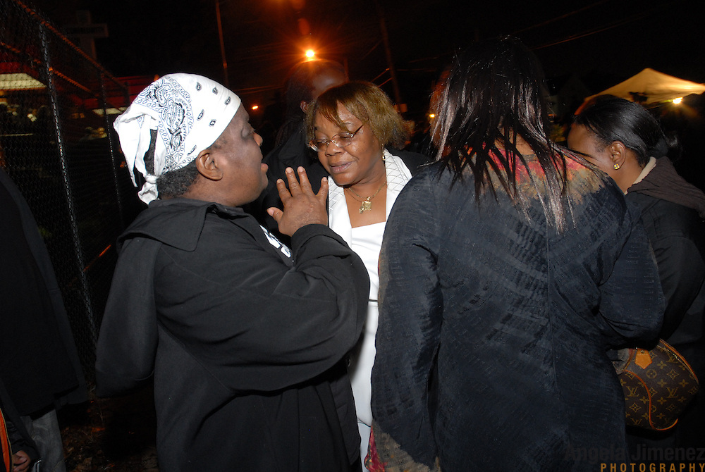 DATE: 12/1/06<br /> DESK: METRO<br /> SLUG: DORISMOND<br /> ASSIGN ID: 30034202A<br /> <br /> Marie Rose Dorismond, center, whose son, Patrick, 26, was killed by undercover New York City Police narcotics detective Anthony Vasquez during a drug buy-and-bust operation on March 16, 2000 in New York City leaves the funeral of Sean Bell, 23, who was killed last week by New York City police officers. Vasquez was acquitted of all charges related to the killing of Dorismond's son. <br /> <br /> photo by Angela Jimenez for The New York Times<br /> photographer contact 917-586-0916