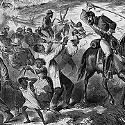Civil War: Rebel officers driving black slaves further South in Virginia deeper into Confederate territory.  Illustration from Harper's Weekly September 8, 1861