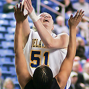 Delaware Junior Center (#51) Sarah Acker grabs the rebound and the put back during VCU delaware game at the The Bob Carpenter Center In Newark Delaware Thursday Night.