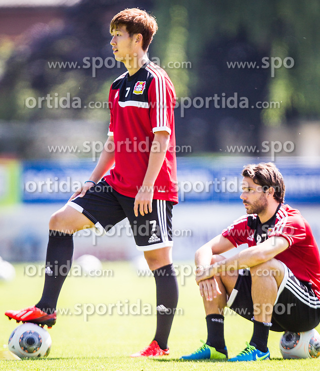 17.07.2013, Alois Latini Stadion, Zell am See, AUT, Bayer 04 Leverkusen Trainingslager, im Bild Heung-Min Son, (Bayer 04 Leverkusen)und Gonzalo Castro, (Bayer 04 Leverkusen) // during a Trainingssession of the German Bundesliga Club Bayer 04 Leverkusen at the Alois Latini Stadium, Zell am See, Austria on 2013/07/17. EXPA Pictures © 2013, PhotoCredit: EXPA/ Juergen Feichter