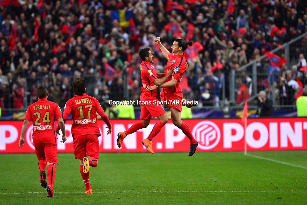 Joie MARQUINHOS / Zlatan IBRAHIMOVIC - 11.04.2015 -  Bastia / PSG - Finale de la Coupe de Ligue 2015<br />Photo : Dave Winter / Icon Sport