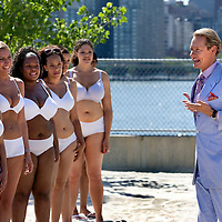 Carson Kressley and women film a segment of How to Look Good Naked at the Water Taxi Beach, LIC, NY.