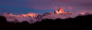 Panorama of Mt. Fitzroy at sunrise in Patagonia, Argentina